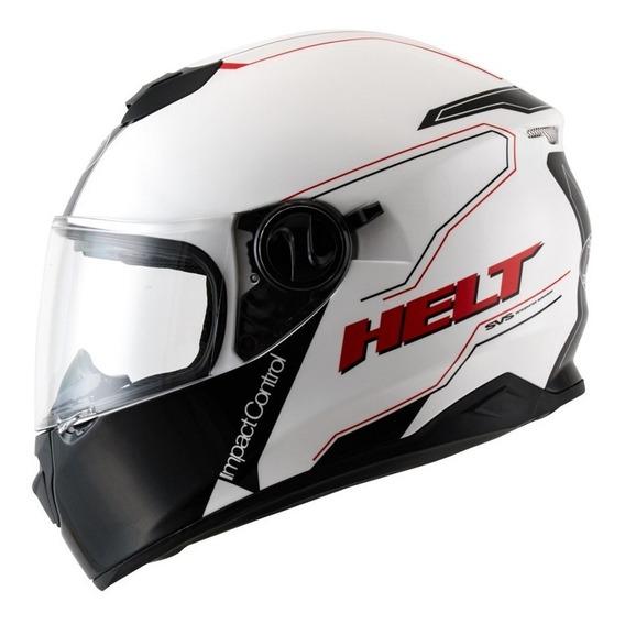 Capacete Helt New Race Glass Blanc Preto Branco Com Oculos