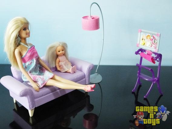 Casa Barbie Moveis De Sala Com Bonecas Barbie E Kelly Mattel