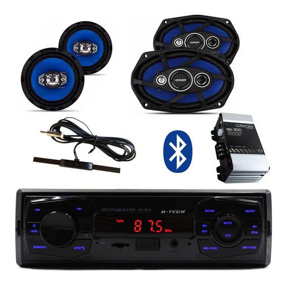 Kit Radio Bt+ Modulo 100.2+ Antena+1par De 6+1 Par De 6x9