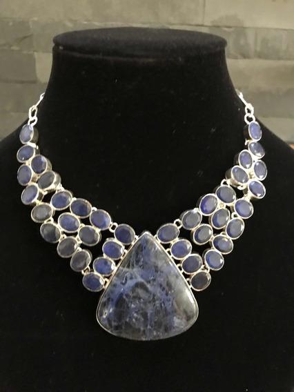 Collar Soldadita & Safiro Azul, Plata 925 100% Natural