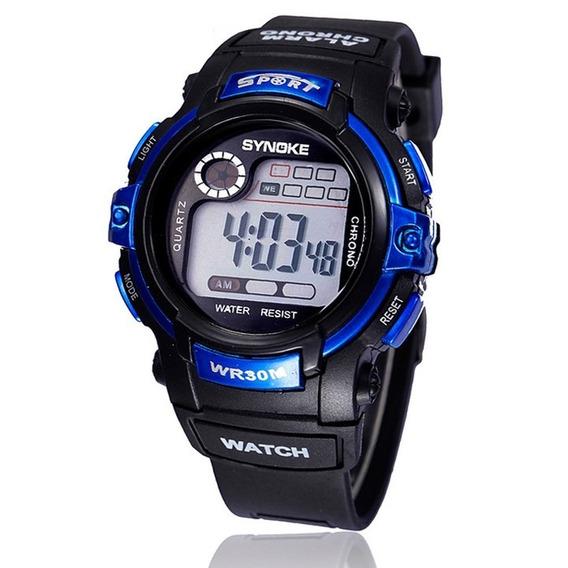 Relógio Infantil Esportivo Masculino Azul Synoke + Brinde