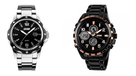 Relógios Masculinos Kit Skmei Analógico 0992 Com Skmei 1021