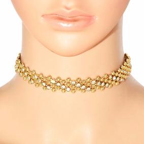 Colar Choker Dourado Silicone Metalizado Cristal Festa Ball