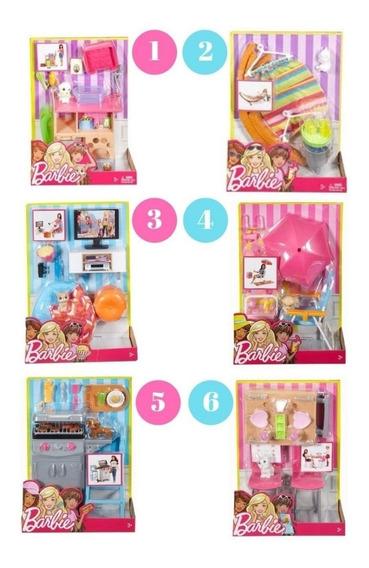 Coleção Completa Barbie Moveis E Acessórios Fdf87 Mattel