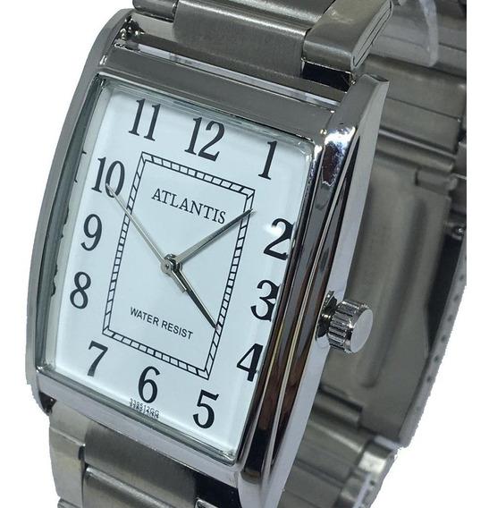 Relógio Unissex Quadrado Atlantis Original Prata Promoção