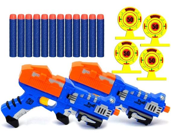 2 Pistolas Lança Dardo Estilo Narf 12 Dardos 4 Alvos X-power