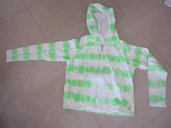 Buzo 47 Street Verde Fluo Y Blanco Talle :m Capucha Verano