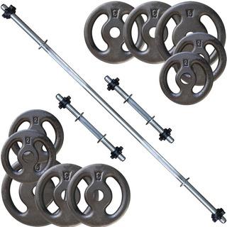 Kit 30kg Anilhas + Barras / Halteres 1.20 E 2 De 40cm