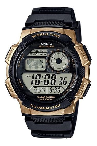 Relogio Casio Ae 1000w-1 Borracha Mapa. Cronometro 5 Alarmes