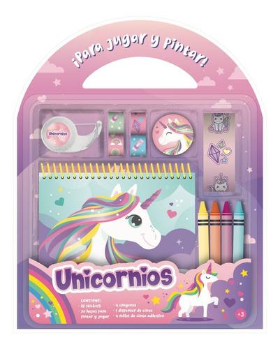 Libro Colorear Valijita Set Para Jugar Y Pintar Unicornios