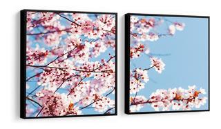 Quadro Decorativo Flores Cerejeira Delicadas Rosa Peças Sala