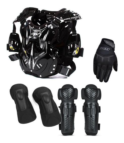 Kit Proteção Colete Cotoveleira Joelheira Luva Motocross Pro