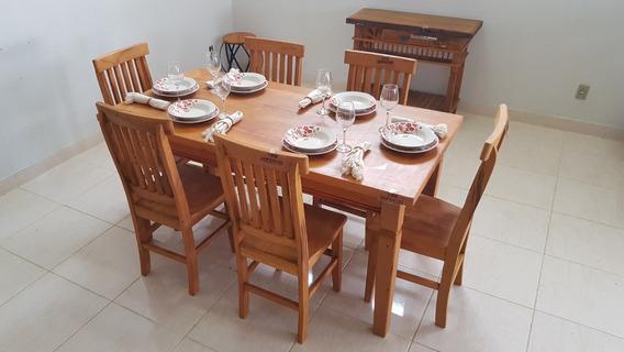 Mesa De Jantar Madeira Maciça 1,60m + 6 Cadeiras ( Promoção)