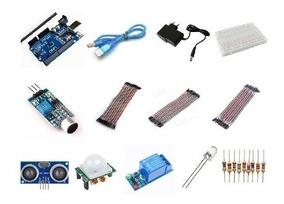 Kit Arduino Uno R3 Smd Fonte Protoboard Módulos Sensores