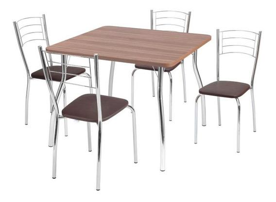 Conjunto Mesa Catia Quadrada 90cm Com 4 Cadeiras Renata