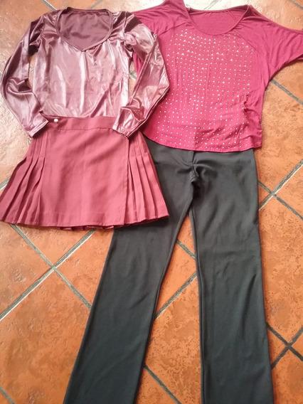 Lote Pantalon Negro+ Mini+remeron Y Remera Brillos Bordo