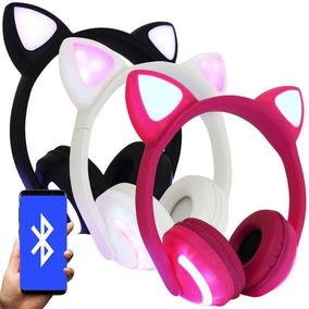 Fone Ouvido Headphone Orelha Gato Bluetooth Infantil Led P2
