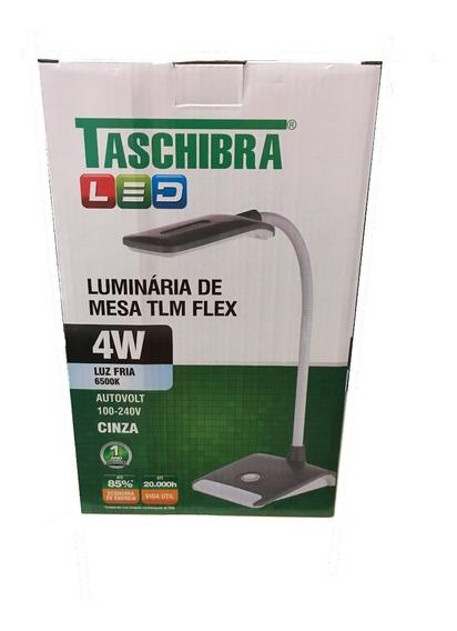 Luminária De Mesa Cinza Tlm Flex Led 4w Taschibra