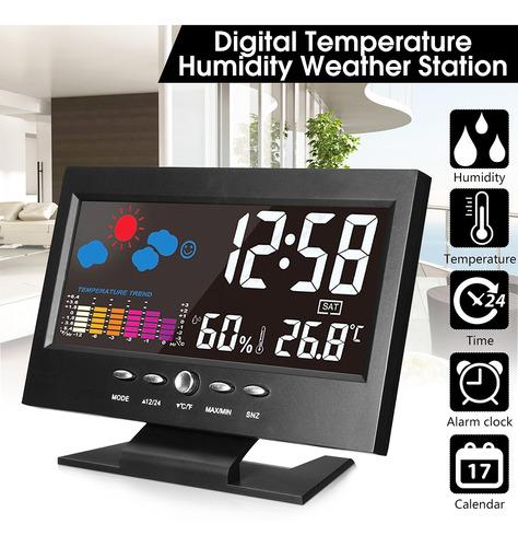 Imagen 1 de 10 de Pantalla Lcd Reloj Digital Alarma Temperatura Interior Humed