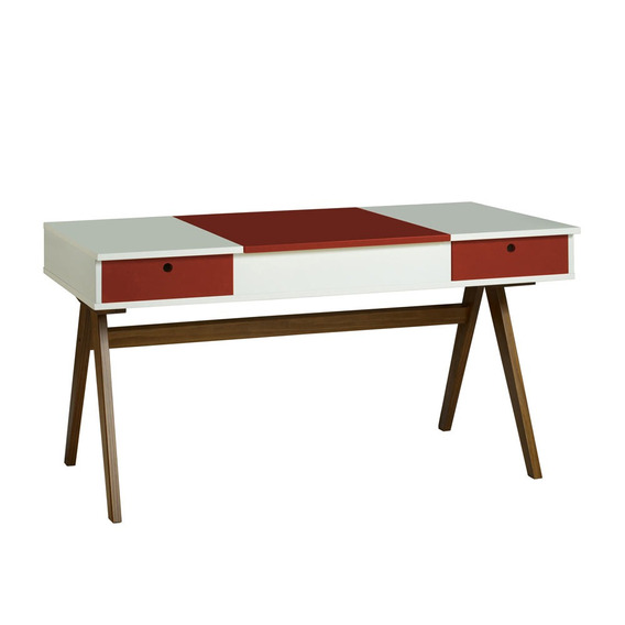 Mesa Escrivaninha Delacroix 430 Nogal/branco/bordo - Maxima