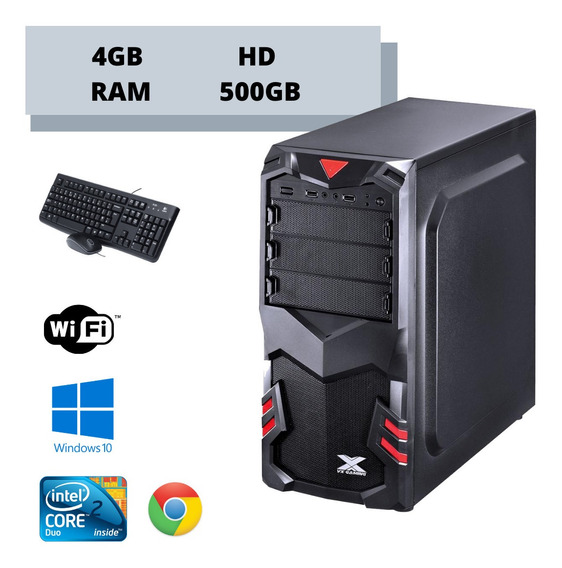Cpu Core 2 Duo 4gb Ram Hd 500gb Win10 - Brindes Wi-fi