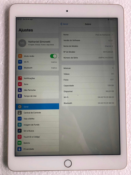iPad Air 2 128gb Wi-fi Usado Seminovo Branco/dourado