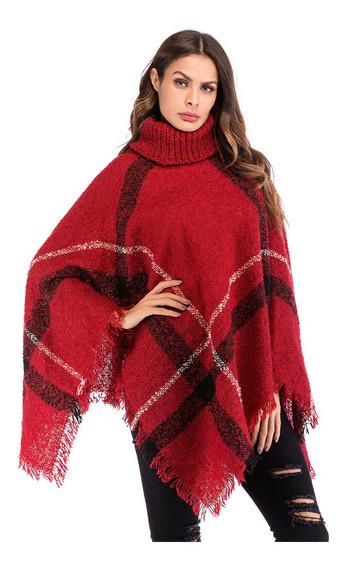 Poncho De Cuello Alto De Mujer Suéter Poncho Cape