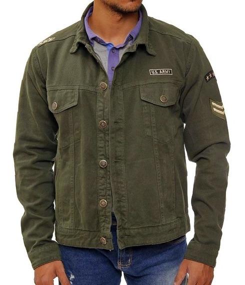 Jaqueta Jeans Militar Slim Fit Usa Army Masculina