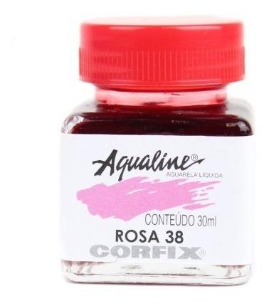 3x Aqualine Aquarela Líquida Aerografia Corfix 30ml - Rosa
