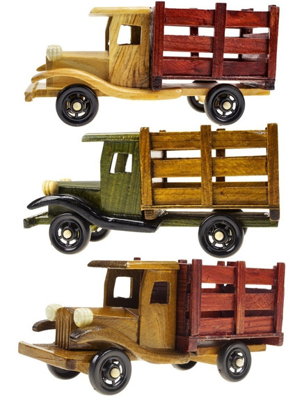 Caminhão De Madeira Antigo Miniatura Vintage Casa Decoração