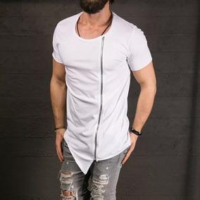 Camisa Masculina Com Ziper Longline Barra X Envio Imediato