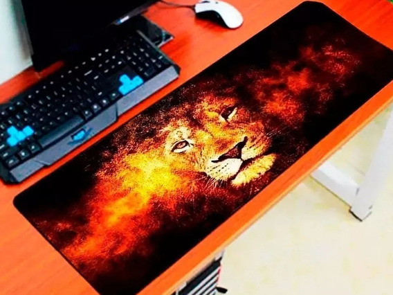 Mouse Pad Gamer 70x35 Large Leão (13) Selvagem Grande Speed