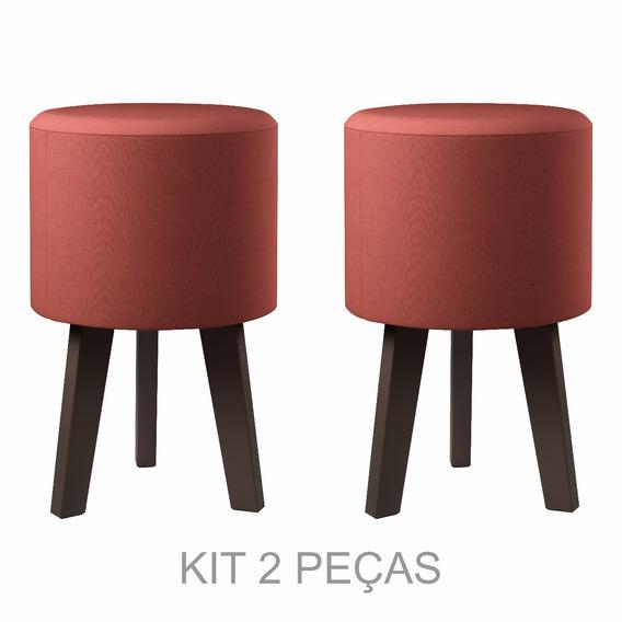 Kit Com 2 Puff/banqueta - Suede Vermelho - Decoração
