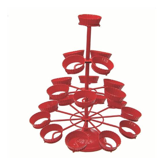 Porta Cupcakes Torre De Metal Vermelha