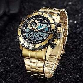 Relógio Amuda Dourado Original Esportivo Social Promoção Top
