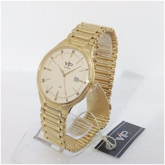 Relógio Vip Quartz Slim Banhado A Ouro Original Luxo 12x S/j