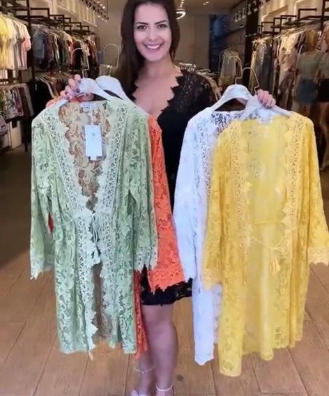 Kimono Cardigã Rendado Floral Saída Praia Dia Chic Importado