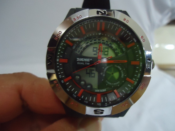 Relógio Masculino Skmei Anadigi 1110 - Prata E Vermelho