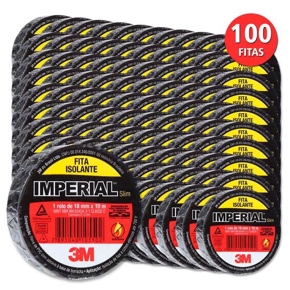 Kit C/ 100 Fita Isolante Imperial Slim 18x10 Metros 3m