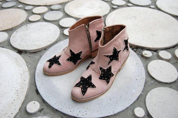 Botas Texanas Estrellas Y Tachas N°35 Color Nude
