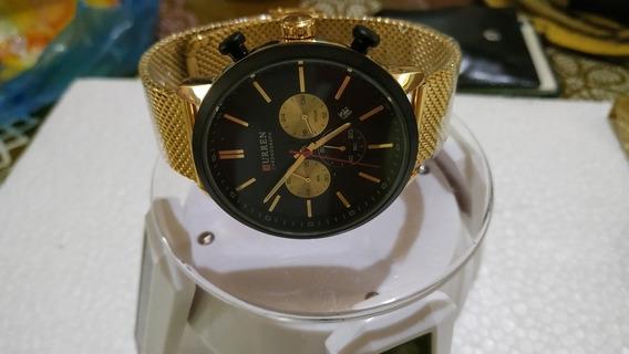 Relógio Masculino Bonito Elegante Dourado Preto Joia De Luxo