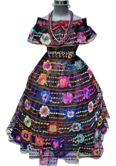 Vestido Tipico De Chiapas 4 Olanes De 3 A 4 Años Bordado A M
