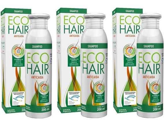 Pack Ecohair Shampoo Anticaída Caida De Cabello 3u Eco Hair