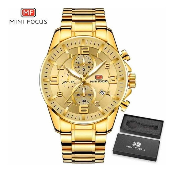 Relógio Masculino Dourado Original Minifocus