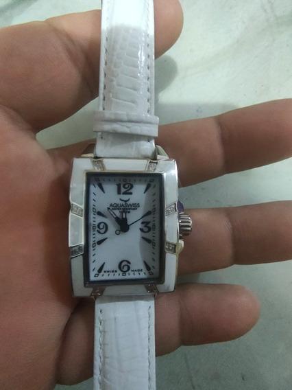 Reloj Aquaswiss Avalon Blanco Dama Piel 12 Diamantes