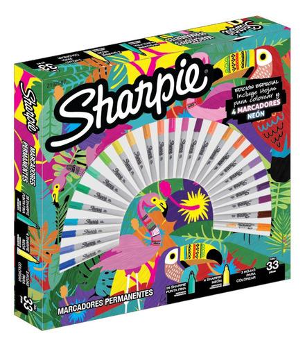 Pack Ruleta 30 Marcadores Permanentes Sharpie Jungla + 3 Hjs