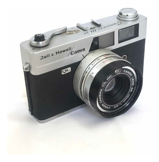 Máquina Câmera Fotográfica Antiga Canon Canonet Ql25 Anos 60