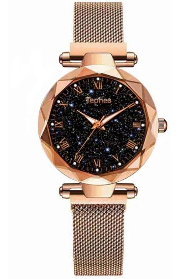 Relógio Feminino - Céu Estrelado - Pulseira Magnética - Promoção - Pronta Entrega - Sem Juros