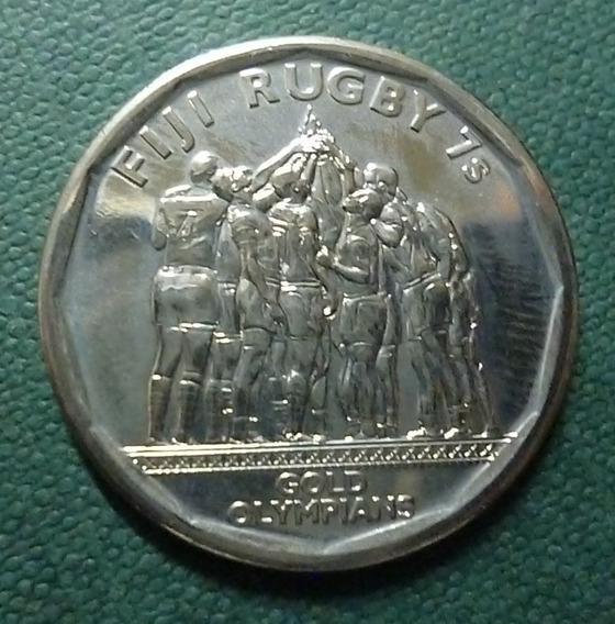 Fiji Moneda 50 Centavos Unc 2017 Rugby 7 Oro Olimpico