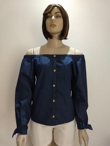 Blusa Jeans Ciganinha Com Botão Manga Longa E Laço